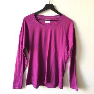 Columbia Tops - Columbia Omni-Wick Purple Striped Long Sleeve